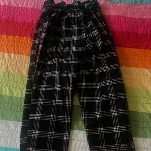 H&M Black Checkered Pants